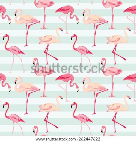 Flamingo Bird Background - Retro seamless pattern in vector - stock vector