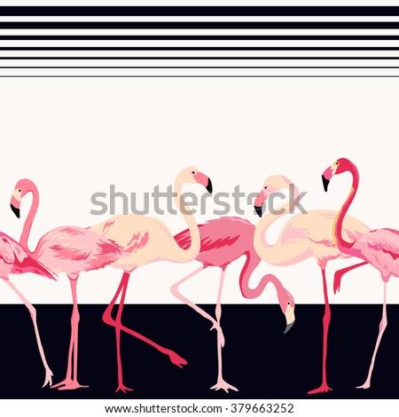 Flamingo Bird Background - Retro Seamless Pattern - in vector - stock vector