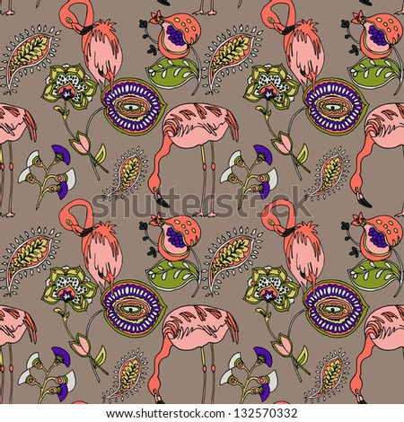Flamingo colorful floral seamless pattern in vector - stock vector