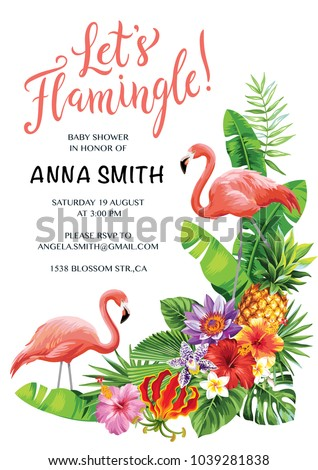 Flamingo Party Invitation Tropical Hawaiian Poster Stock ...