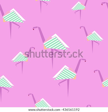 Flamingo Seamless Pattern Origami Style Background Stock Vector