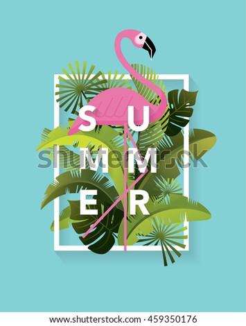 flamingo/ summer template vector/illustration - stock vector