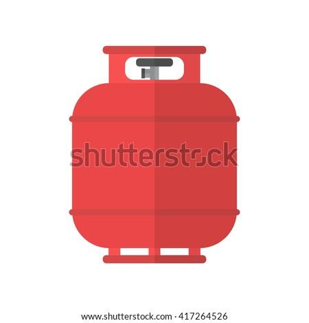 Flammable gas tank icon. Propane, butane, methane gas tank. Flat vector illustration - stock vector