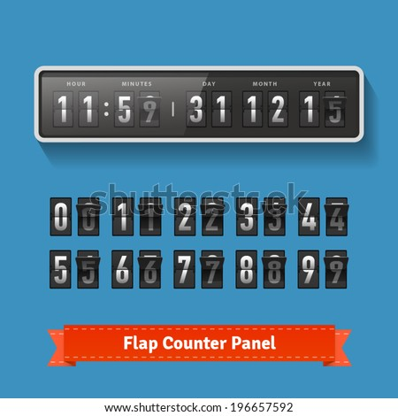 Flap time and day wall clock. Number counter template plus all digits with flips. Also suitable for 2014-2015 countdown. Highly editable EPS10. - stock vector