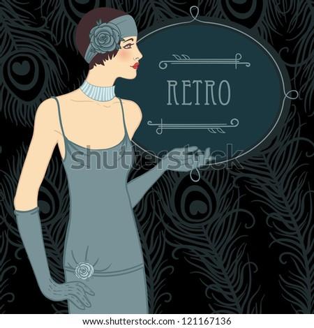 Flapper girl: Retro party invitation design (black) - stock vector