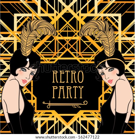 Flapper girl: Retro party invitation design. Vector illustration.  - stock vector
