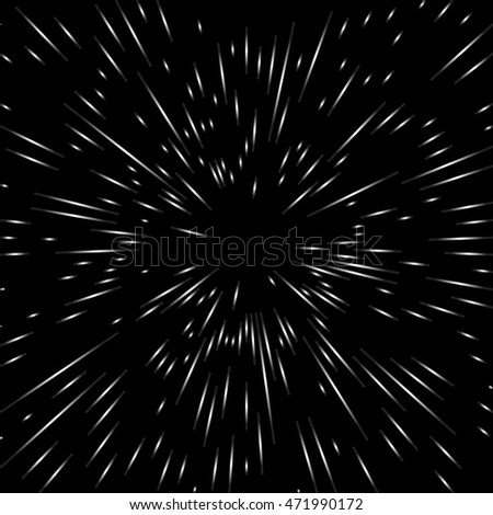 Flash, outbreak, stylized cosmic blast. Black and white vector illustration