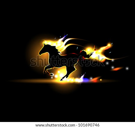 Flash vector horse - stock vector