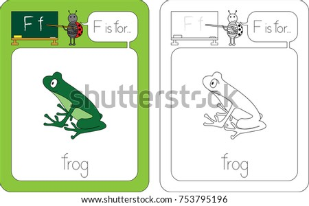 flashcard for english language letter f is for frog