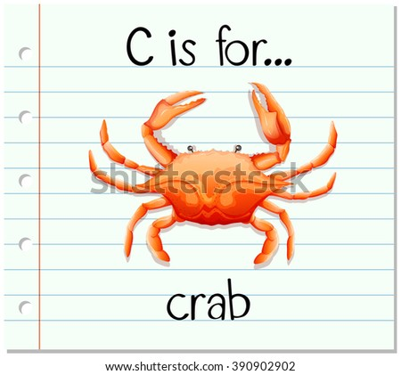 Flashcard letter C is for crab illustration