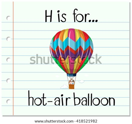 Flashcard letter H is for hot-air balloon illustration