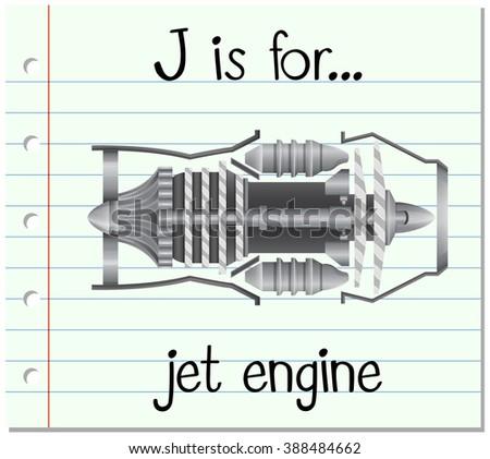 Flashcard letter J is for jet engine illustration - stock vector