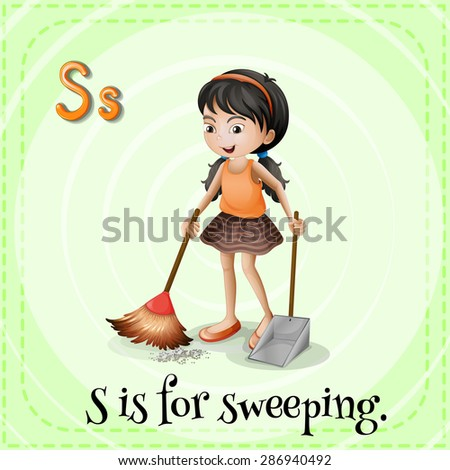 Flashcard of a letter S with a picture of a girl sweeping the floor - stock vector
