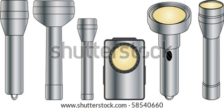 Flashlight collection - stock vector