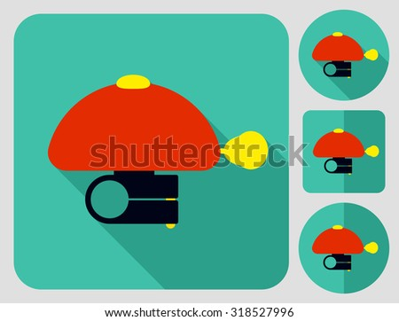 Flashlight icon. Bike accessories. Flat long shadow design. Bicycle icons series. - stock vector