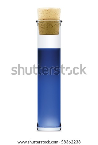Flask with blue liquid and stopper in vector