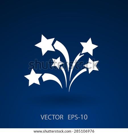Flat a firework icon. Vector. - stock vector