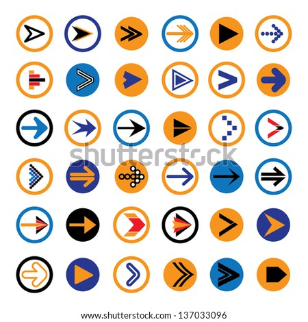 Flat abstract arrow in circles icons, symbols vector illustration. The graphic contains 36 arrow signs & symbols in blue, red, orange & black colors & can be used in print,web pages,blogs,banners, etc - stock vector