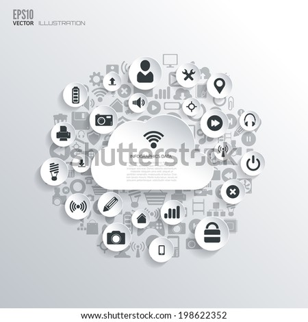 Flat abstract background with web icons. Interface symbols. Cloud computing. Mobile devices. - stock vector