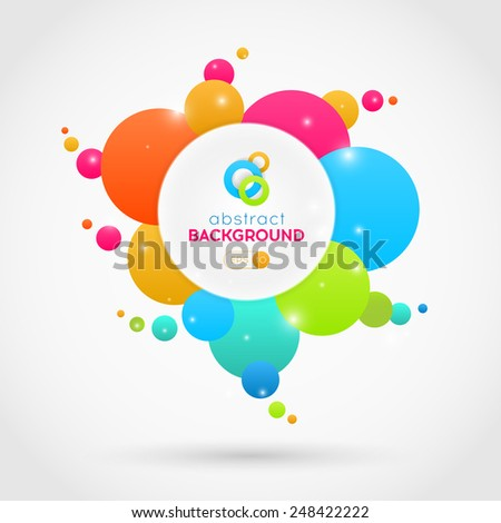 Flat abstract vector colorful circles background