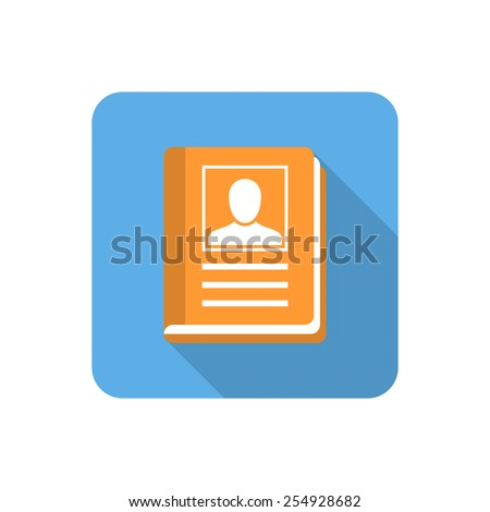 Flat address book icon with long shadow. Vector illustration - stock vector