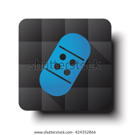 Flat Adhesive Bandage icon on black app button with drop shadow - stock vector