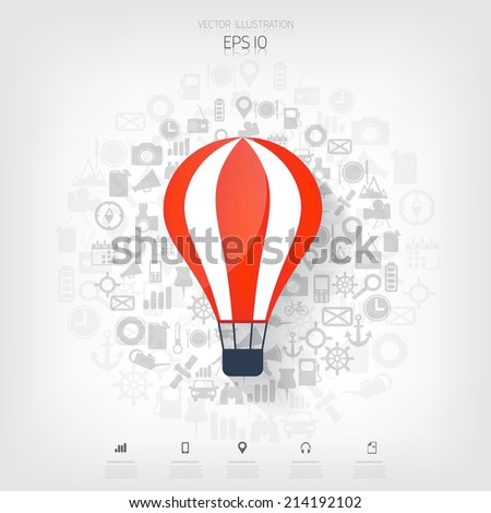 Flat air balloon web icon. Web application icons. Project start up. Business aim. - stock vector