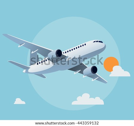 Flat airplane illustration, view of a flying aircraft - stock vector