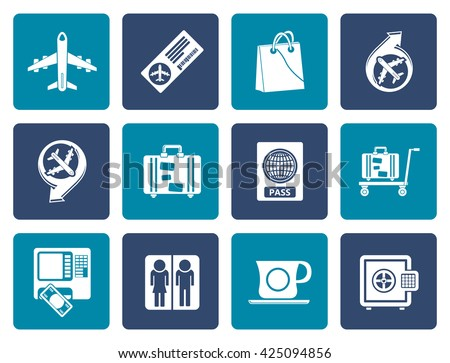 Flat airport, travel and transportation icons 1 - vector icon set - stock vector