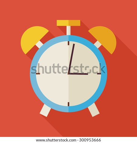 Flat Alarm Clock Illustration with long Shadow. Business Office Workplace Vector Illustration. Office Life Interior Workspace Object. Time Management. School and Education - stock vector