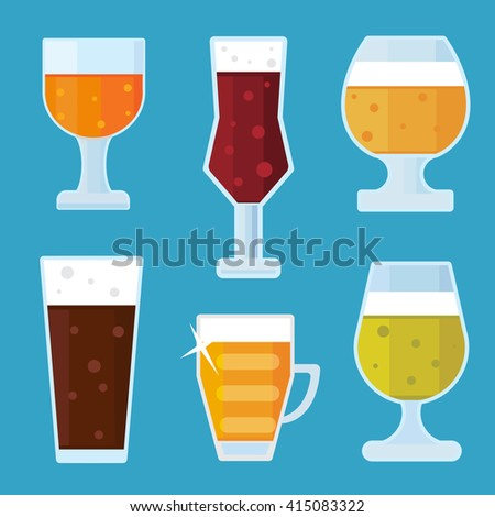 Flat alcohol Beer icons vector. beer boutle, beer glass and beer label. set of beer vector illustration isolated