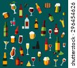 Flat alcohol beverages and cocktails icons of wine bottles, champagne, martini, beer, whiskey, brandy and vodka, cocktail and wine glasses, beer mugs with some light snacks and corkscrews - stock vector