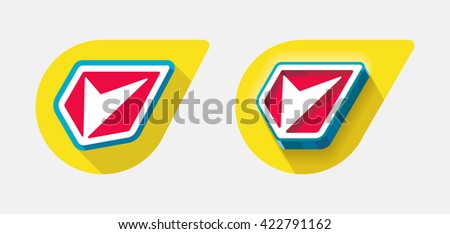 Flat and engraved illustration shield with long shadow on yellow drop background. - stock vector