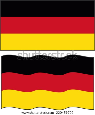 Flat and waving Germany Flag. Vector illustration
