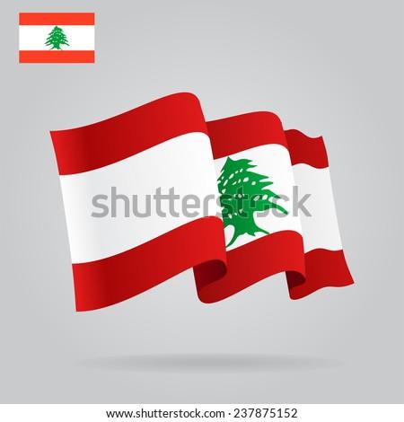 Flat and waving Lebanese Flag. Vector illustration Eps 8. - stock vector