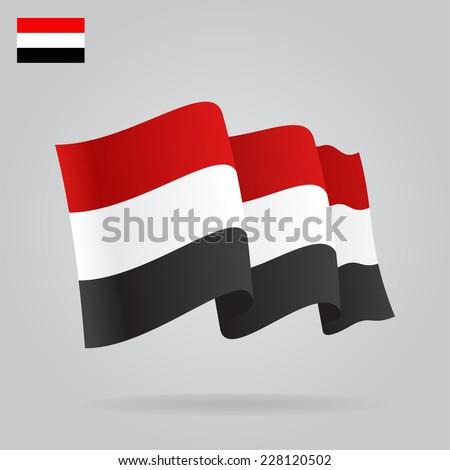 Flat and waving Yemen Flag. Vector - stock vector