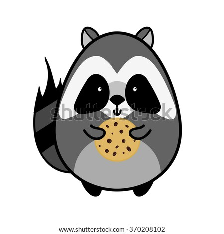 Flat animal element for design, icon, character. American raccoon boy with oat cookies isolated on white background