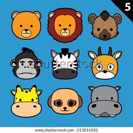 Flat Animal Faces Stroke Icon Cartoon Vector Set 5 (Safari) - stock vector