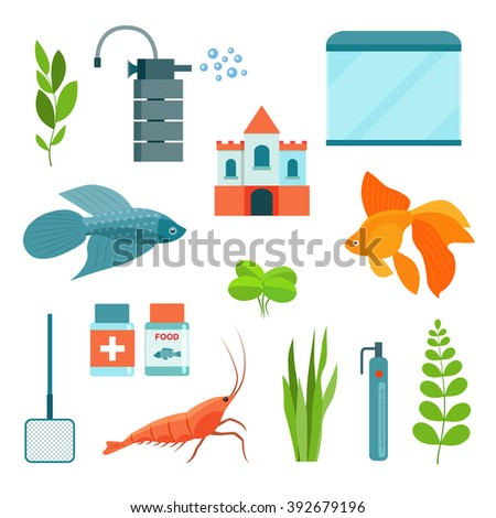 Flat aquarium set. ?quarium equipment, aquarium fish, shrimp and castle. Vector illustration - stock vector