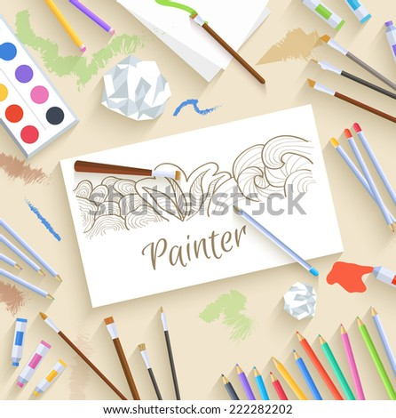 flat art painter workshop with paint supplies equipment tools background. Vector illustration design  - stock vector