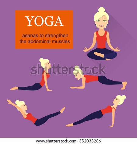 flat asanas to strengthen the abdominal muscles.Blonde woman. vector illustration