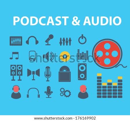 flat audio, podcast, media icons set, vector - stock vector