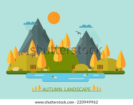 Flat autumn nature landscape illustration. Colorful vector flat icon set: nature, mountains, lake, ducks, sun, trees, fox, eagle, cane, hedgehog, clouds. Vector illustration in trendy flat style. - stock vector