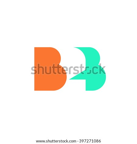 Flat B2B letters vector logo template design, business to business symbol, icon design isolated on white background  - stock vector