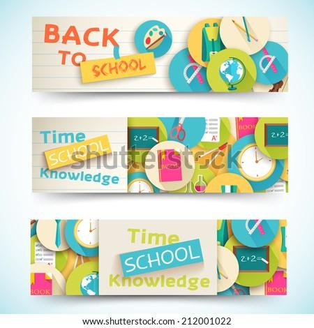 flat back to school horizontal banners concept. Vector illustration design - stock vector