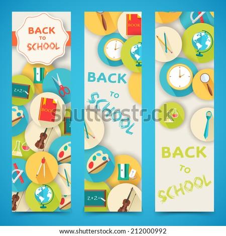 flat back to school vertical banners concept. Vector illustration design - stock vector