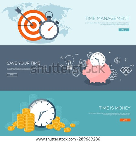 Flat background. Time is money. Time management and planning. - stock vector