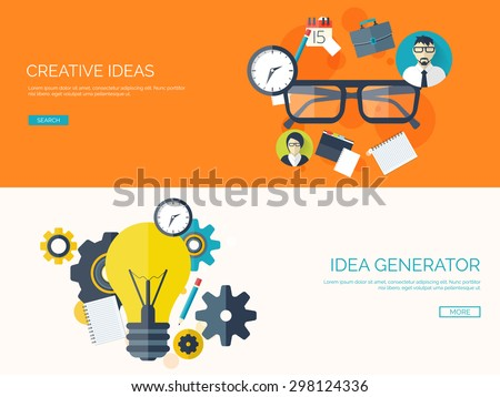 Flat background with bulb and glasses. New business ideas. Creative vision. Smart solutions. - stock vector