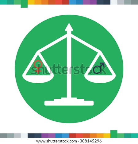 Flat balance icon with male and female symbols representing gender equality in a circle. - stock vector