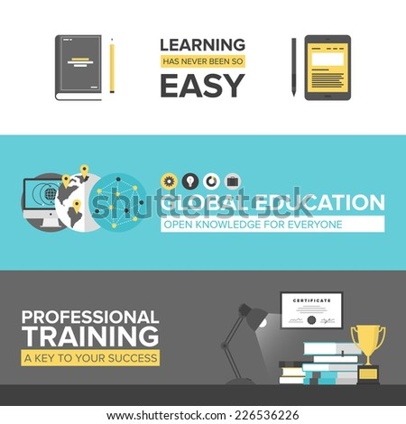 Flat banner set of global online education, success professional training, electronic learning process, awards winning and knowledge elements. Modern design style vector illustration concept. - stock vector
